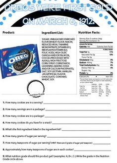 Nutrition Label Worksheet Answer Key Oreos : nutrition, label, worksheet, answer, oreos, Nutrition, Labels, Ideas, Labels,, Nutrition,, Education