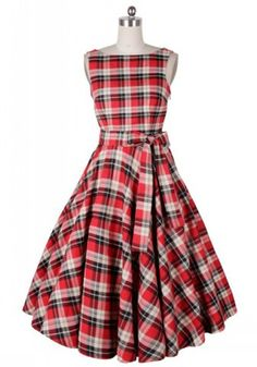 Vintage Scoop Neck Plaid Backless Sleeveless Dress For Women