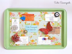 Turn a cookie sheet into a magnetic memo board