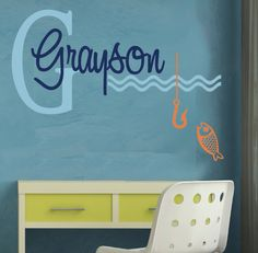 Wall Decal MONOGRAM Personalized Childrens Art Fish Fishing  EXTRA LARGE. $44.00, via Etsy.