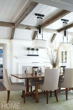 Inspired By Wood Beam Plank Ceiling Design Nice Ceiling Detail Coffered Ceiling Gray Rustic Wood Beams Dining Room With Fireplace Wood Plank Ceiling, Wood Ceilings, Wood Beams, Ceiling Beams, Shiplap Ceiling, Wood Planks, Dark Ceiling, Coffered Ceilings, Dining Room Fireplace