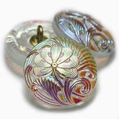 Czech Glass Flower Black w// Silver Finish Shank Button 20mm Flower Button