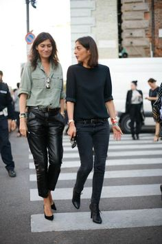 True Parisian street style- Emmanuelle Alt plus chic friend