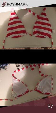 red and white striped bikini top very good condition barely worn. ties at top and back. Swim Bikinis