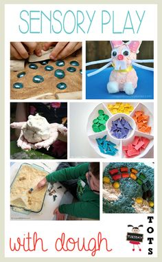 Eight simple ideas for sensory play with dough ranging from cloud dough to edible dough that can be baked and eaten.