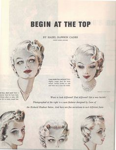 Begin at the top - vintage hairstyle ideas from 1953. #vintge #1950s #hair Love…
