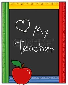 Love My Teacher Blackboard Ruler Frame