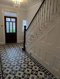 Gallery – Martin Mosaic Ltd – Victorian Floor Tiles in Wimbledon, London – Revolution Victorian Hallway Tiles, Edwardian Hallway, Tiled Hallway, Victorian Flooring, Victorian Mosaic Tile, Victorian Stairs, Victorian Bathroom, Entrance Hall Decor, House Entrance