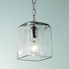 Small Square Glass Pendant Light