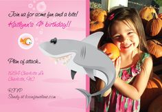 Shark Pool Party Invitation - Pink