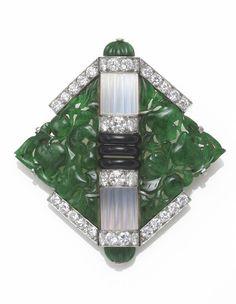 An art deco jadeite jade, moonstone, black onyx and diamond brooch, Mauboussin, French, circa 1925