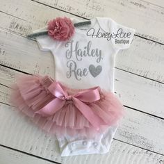 PERSONALIZED SET silver glitter shirt bodysuit, dusty rose vintage pink ruffle tutu skirt bloomers, flower headband newborn baby girl outfit coming home take home hospital outfit by HoneyLoveBoutique on Etsy Glitter Shirt, Glitter Outfit, Baby Tutu, Baby Girl Newborn, Newborn Tutu, Staubige Rose, Dusty Rose, Newborn Hospital Outfits, Baby First Outfit