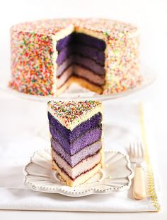 Purple layer cake with sprinkles.