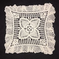 Vintage Square White Hand Crochet Crocheted Centerpiece Doily Candle Mat  | eBay