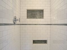 Shower Niche Glass Shelf | Classic subway tiles are mixed with glass accents. Shower niches ...
