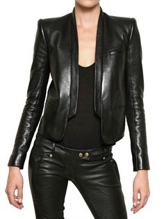 443a2a97 Balmain Soft Nappa Tuxedo Leather Jacket in Black | Lyst Balmain Leather  Jacket, Leather Jackets