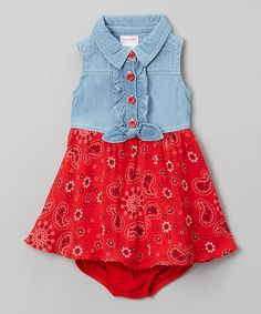 Look what I found on #zulily! Blue & Red A-Line Dress - Infant by Nannette #zulilyfinds