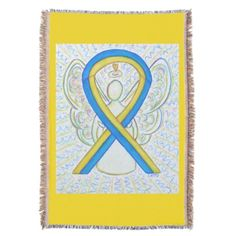Down' Syndrome Blue and Yellow Awareness Ribbon Angel Blanket