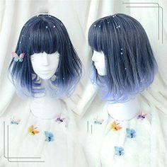 Kylie Jenner Christmas Blue Grandient Ombre Cosplay Wig Dark Root Natural Hair