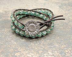 LOVE. Bohemian Turquoise Bracelet Double Leather Wrap Bracelet Unique Artisan Sunflower Jewelry Sunflower Bracelet