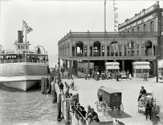 "Detroit circa 1906. ""Belle Isle ferry dock."" A good place to pick up a yacht sail. The steamer Garland."