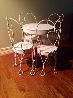 vintage ice cream parlor table & chairs