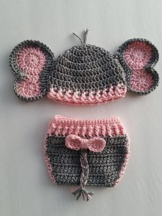 Crochet Baby Girl Elephant Set is one of the cutest and most popular patterns. Can be done for a boy or girl newborn to 12 months! - Elephant Set is one of the cutest and most popular patterns. Can be done for a boy or girl newborn to 12 months! Crochet Elephant Pattern, Newborn Crochet Patterns, Crochet Baby Cocoon, Crochet Baby Clothes, Crochet Baby Hats, Baby Blanket Crochet, Baby Patterns, Baby Cocoon Pattern, Beanie Pattern