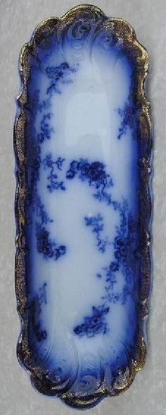 "Antique 1900 Wheeling Pottery USA La Belle 13"" Celery Dish Ice Cream Bowl-LOVELY"