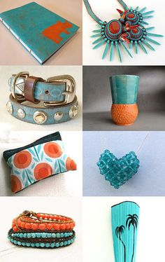 Technicolor  by Cyndie Smith on Etsy--Pinned with TreasuryPin.com #florida #giftguide #aqua #orange #handmade #gifts #teamfest