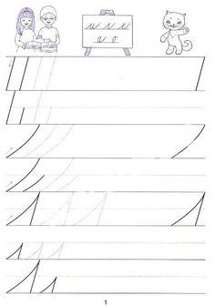 Písanka s kocourem Samem 1 pro 1. ročník Handwriting Practice, English Class, Cursive, Kids And Parenting, Cool Kids, Alphabet, Kindergarten, Homeschool, Education