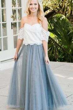 763ed23c0689 Two Piece Floor Length Prom Dress with Lace, 2 Piece Off Shoulder Tulle  Bridesmaid Dress