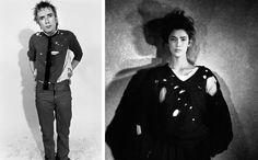 Left, John Lydon, also known as Johnny Rotten, in 1976. Right, a piece from Comme des Garçons, 1982.