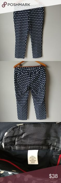 "Banana Republic Polka Dot Crop Pants Fun wardrobe addition for Spring in excellent condition! Color is dark navy blue with white polka dots. Measurments taken flat are: Waist 16"" Length 34.5"" Rise 10.5""  🌷Check out my daughter's closet too! @mrwidmer Banana Republic Pants Capris"