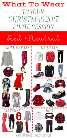 What To Wear To Your Christmas 2017 Photo Session  Family | Couple | Kids | Baby | Maternity | Outfits | Red | Black | White
