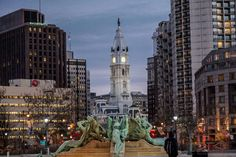 """Fountains On Dry as City Hall Watches"" Philadelphia PA Logan Circle - kdmorris photography #Canon"
