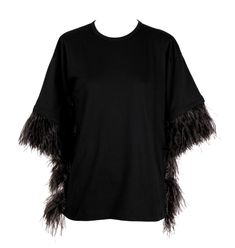 Oversized Cotton T-shirt Cuffs and sides lined with real ostrich-feather Light-grey feather detail cotton real ostrich-feather Made in Italy Shirt Cuff, T Shirt, Ostrich Feathers, Tunic Tops, How To Make, Cotton, Black, Women, Fashion