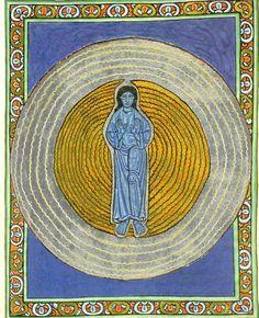 Manuscript illumination from Scivias (Know the Ways), by Hildegard von Bingen (c. 1165).