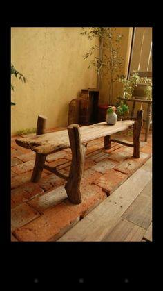 流木飾りベンチ Twig Furniture, Recycled Furniture, Log Decor, Rustic Decor, Rustic Loft, Driftwood Projects, Beach Wood, Diy Holz, Wood Creations