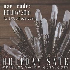 today I am thankful for you! use code HOLIDAY2016 for 15% off now through monday 11/28 - also! don't forget to enter my giveaway! just scroll a little through my posts to find the first post about it for details. ✨📦🌲 . . . . . . . #whiskeynwine #etsy #handmade #handmaderevolution #etsyseller #etsyshop #mystical #blackfriday #loveandlight #metaphysical #etsysale #handmadejewelry #etsyfinds #pagan #witchy #witch  #boho #smallbusiness #crystalwitch #crystalmagic #cybermonday…