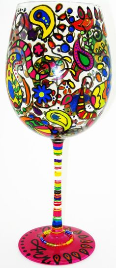 Hand Painted Glassware - Paisley by RaveOnDesigns on Etsy https://www.etsy.com/listing/37934060/hand-painted-glassware-paisley