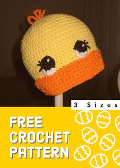 Mar 2020 - Whether you are just learning to crochet or looking for the perfect shower gift this free crochet duck cap pattern is perfect for you. If you can crochet basic stitches you will be able to crochet this duck cap. Easy Crochet Hat, Crochet Eyes, Crochet Baby Hat Patterns, Crochet Baby Beanie, Crochet Cap, Crochet For Kids, Free Crochet, Selling Crochet, Crochet Character Hats