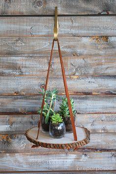 November DIY Challenge :: Hanging Wood Slice Plant Stand - brepurposed