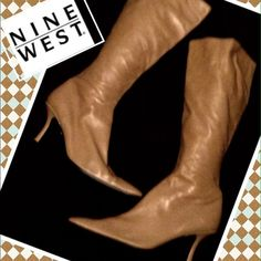 """NINE WEST Boots, Size 7.5 Buttery soft leather Nine West knee-high side zip boots, size 7.5. No visible signs of wear to the soles and all of the heather except for scuffs at the back of the heel region.  They measure 18"""" high, from bottom of boot to the top and heels are 3 1/4"""" tall.   Nine west Shoes Heeled Boots"""