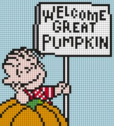 "Linus ""Welcome Great Pumpkin"" From It's The Great Pumpkin, Charlie Brown Perler Bead Pattern"