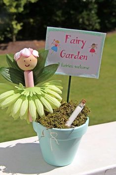 Fairy favors at a  garden birthday party! See more party planning ideas at CatchMyParty.com!