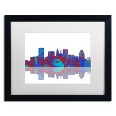 Baltimore Maryland Skyline II by Marlene Watson Framed Graphic Art
