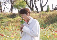 he like flowers 🌸 Funny Kpop Memes, Exo Memes, Exo Kai, Chanyeol, Meme Faces, Funny Faces, Exo Korea, Polaroid, Kim Min Gyu
