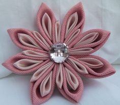 Salmon Pink Grosgrain And Light Pink Satin Ribbon Handmade Kanzashi Flower Brooch With Pink Rhinestone Button by broochingbaer on Etsy