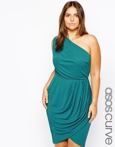 ASOS CURVE Exclusive One Shoulder Dress.....love the color and dress