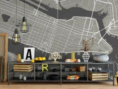 Your walls can tell your story with customized London City Grid Wallpaper. Pinterest-worthy walls with floor to ceiling city maps of your favourite places. Available in professional-grade or residue-free peel-and-stick vinyl that is a favourite of renters. Customized to perfectly fit your any wall dimensions. - Point Two Design